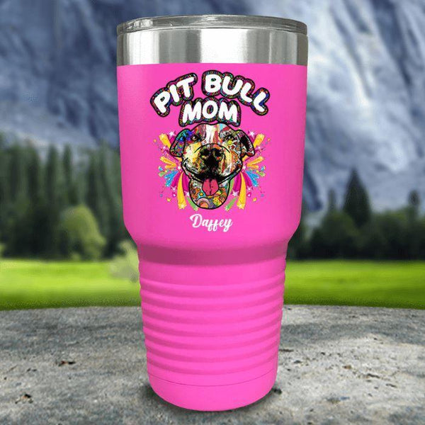 Personalized Pit Bull Mom Color Printed Tumblers Tumbler Nocturnal Coatings 30oz Tumbler Pink