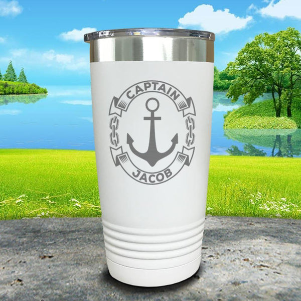 Captain Anchor (CUSTOM) Engraved Tumbler Tumbler ZLAZER 20oz Tumbler White