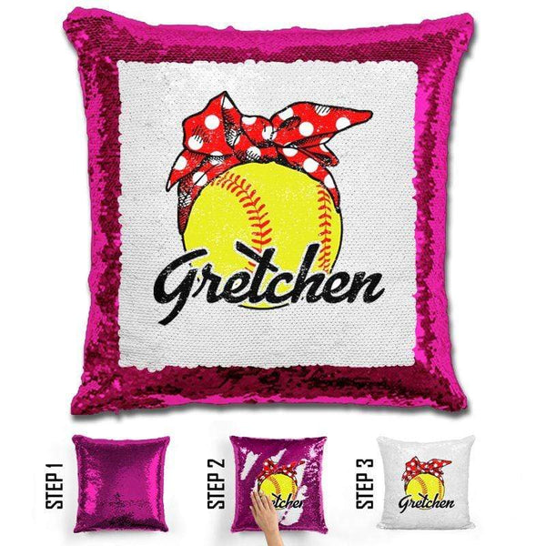 CUSTOM Bandana Softball Magic Sequin Pillow Pillow BLINGZ Hot Pink