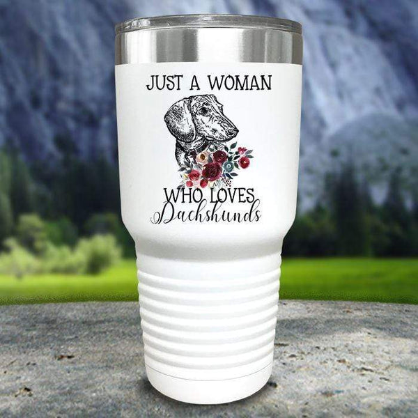 A Woman Who Loves Dachshunds Color Printed Tumblers Tumbler Nocturnal Coatings 30oz Tumbler White