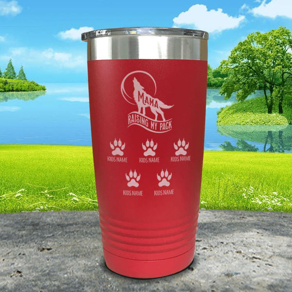 Wolf Mama (CUSTOM) With Child's Name Engraved Tumblers Tumbler ZLAZER 20oz Tumbler Red