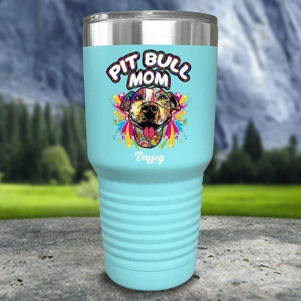 Personalized Pit Bull Mom Color Printed Tumblers Tumbler Nocturnal Coatings 30oz Tumbler Mint