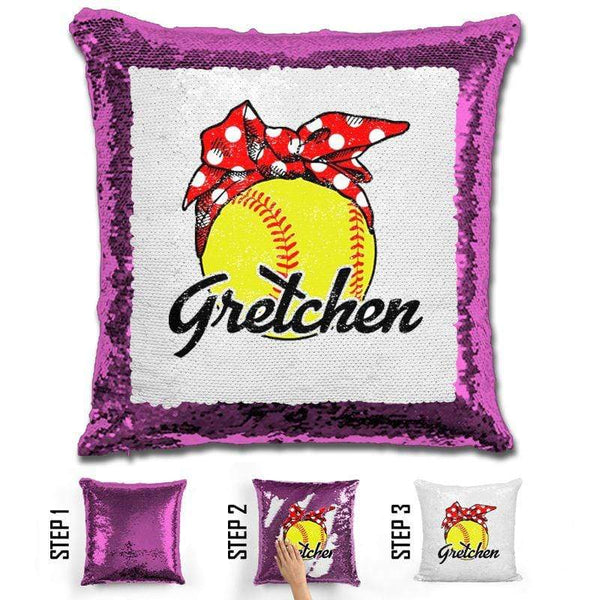 CUSTOM Bandana Softball Magic Sequin Pillow Pillow BLINGZ Orchid