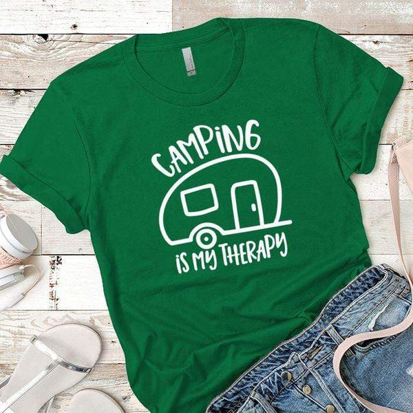Camping Is My Therapy Premium Tees T-Shirts CustomCat Kelly Green X-Small