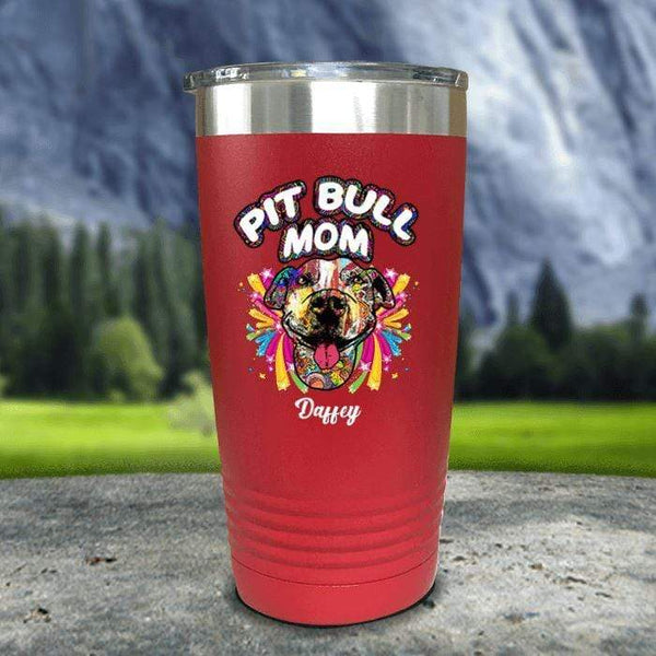 Personalized Pit Bull Mom Color Printed Tumblers Tumbler Nocturnal Coatings 20oz Tumbler Red