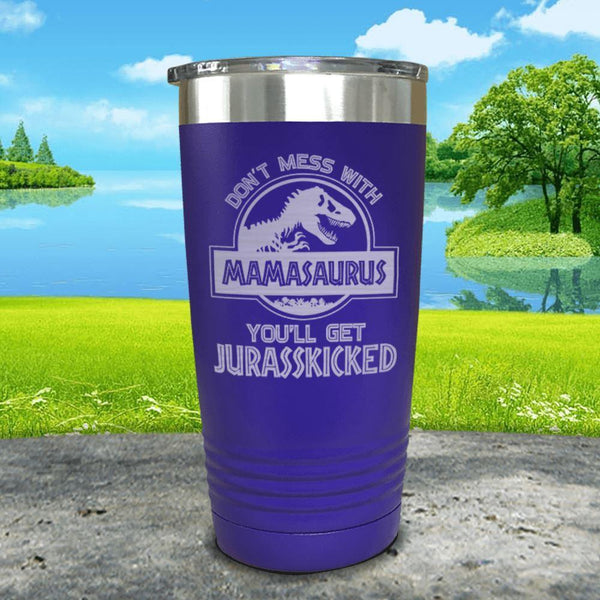Don't Messed With Mamasaurus Engraved Tumblers Tumbler ZLAZER 20oz Tumbler Royal Purple