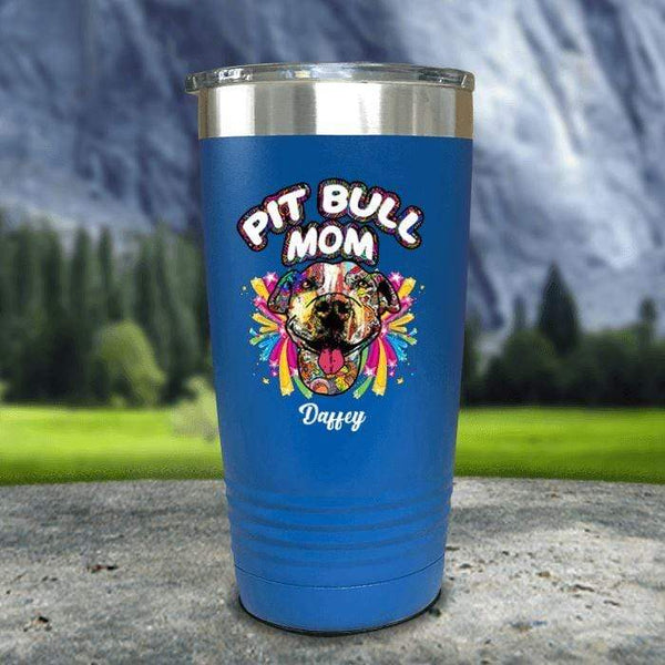 Personalized Pit Bull Mom Color Printed Tumblers Tumbler Nocturnal Coatings 20oz Tumbler Blue
