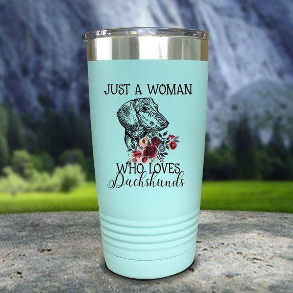 A Woman Who Loves Dachshunds Color Printed Tumblers Tumbler Nocturnal Coatings 20oz Tumbler Mint