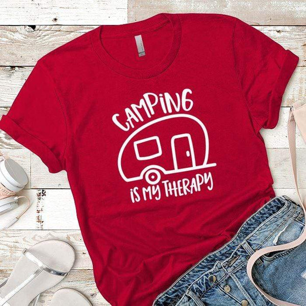 Camping Is My Therapy Premium Tees T-Shirts CustomCat Red X-Small
