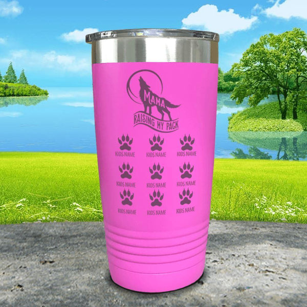 Wolf Mama (CUSTOM) With Child's Name Engraved Tumblers Tumbler ZLAZER 20oz Tumbler Pink