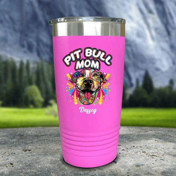 Personalized Pit Bull Mom Color Printed Tumblers Tumbler Nocturnal Coatings 20oz Tumbler Pink