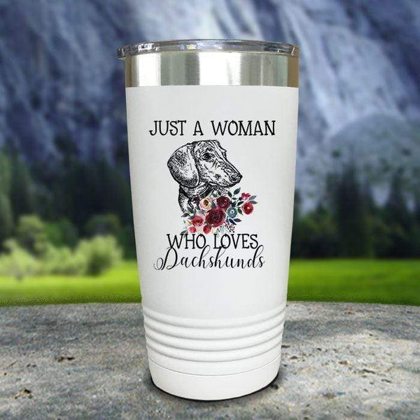 A Woman Who Loves Dachshunds Color Printed Tumblers Tumbler Nocturnal Coatings 20oz Tumbler White