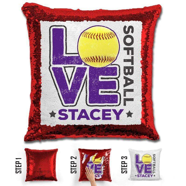 Personalized LOVE Softball Magic Sequin Pillow Pillow GLAM Red Purple