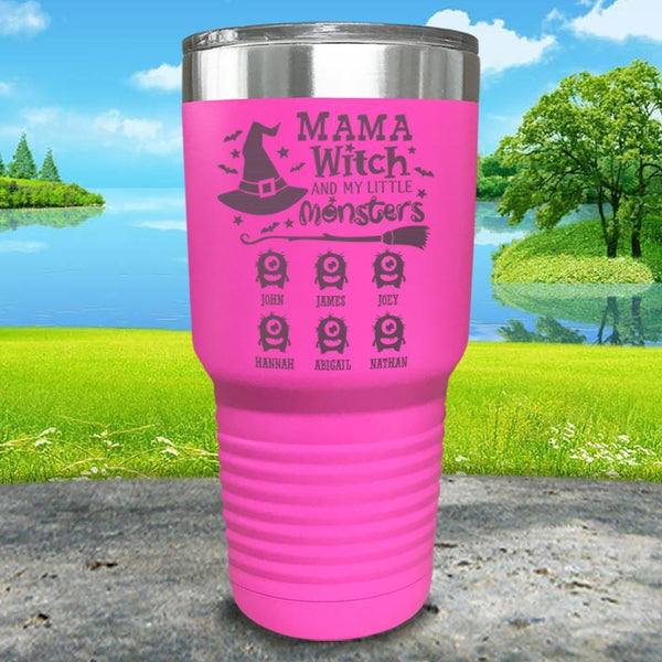 Mama Witch (CUSTOM) With Child's Name Engraved Tumbler Tumbler ZLAZER 30oz Tumbler Pink