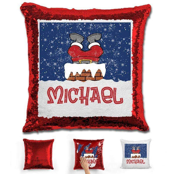 Personalized Santa Stuck In Chimney Christmas Magic Sequin Pillow Pillow GLAM Red