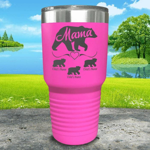 Mama Bear (CUSTOM) With Child's Name Engraved Tumblers Tumbler ZLAZER 30oz Tumbler Pink