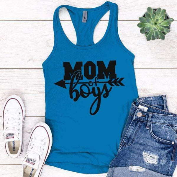 Mom Of The Boys Premium Tank Tops Apparel Edge Turquoise S