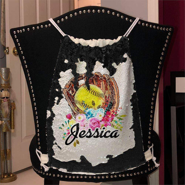 Softball Glove Personalized Magic Sequin Backpacks Sequin Backpack BLINGZ Black