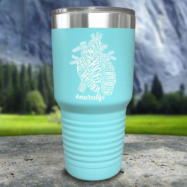 Nurse Descriptive Heart Color Printed Tumblers Tumbler Nocturnal Coatings 30oz Tumbler Mint