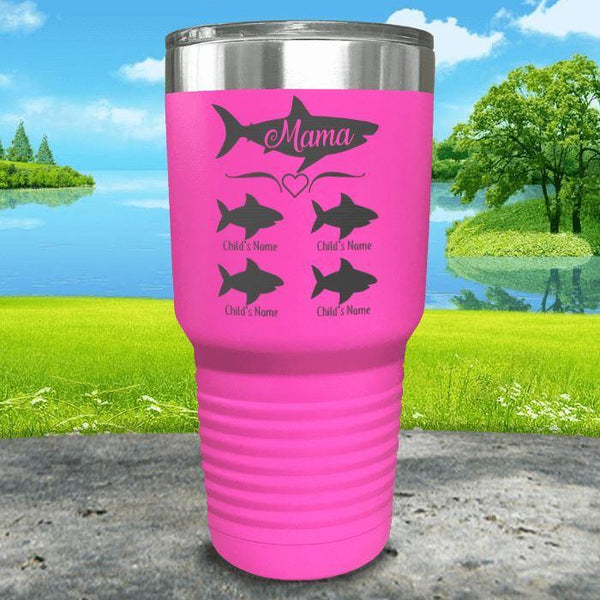 Mama Shark (CUSTOM) With Child's Name Engraved Tumblers Tumbler Southland 30oz Tumbler Pink