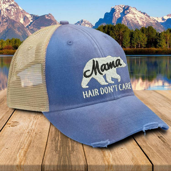 Mama Bear Hair Don't Care Premium Trucker Hat Hat Edge Royal