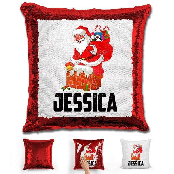Personalized Santa Claus Magic Christmas Sequin Pillow Pillow GLAM Red