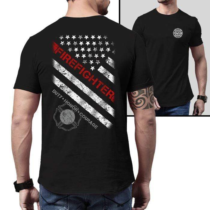 American Firefighter Duty Honor Courage Premium Tee T-Shirts CustomCat Black X-Small