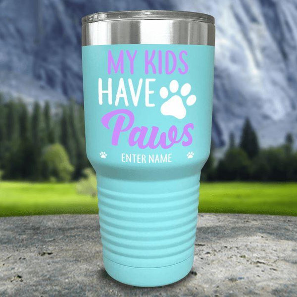 Personalized My Kid Has Paws Color Printed Tumblers Tumbler Nocturnal Coatings 30oz Tumbler Mint