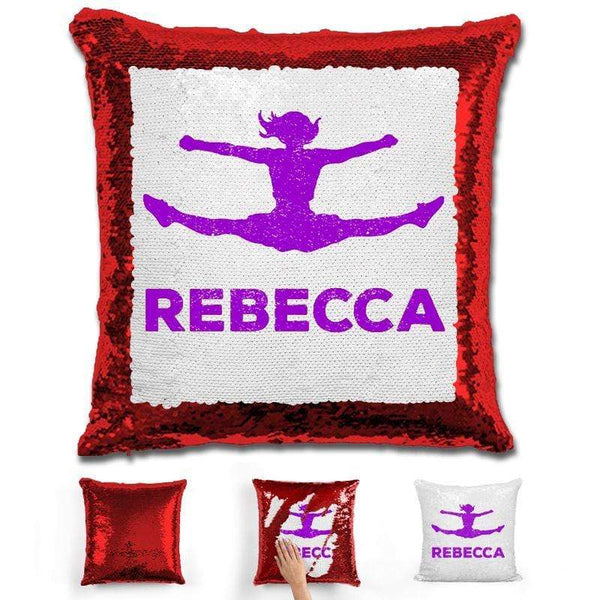 Competitive Cheerleader Personalized Magic Sequin Pillow Pillow GLAM Red Purple