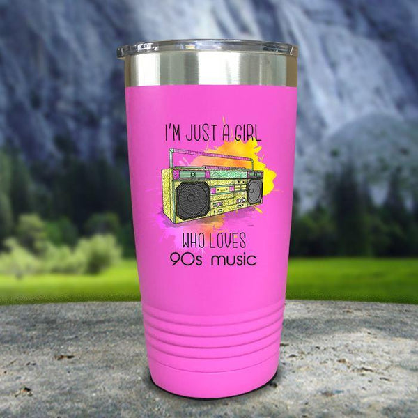 A Girl Who Loves 90s Music Color Printed Tumblers Tumbler Nocturnal Coatings 20oz Tumbler Pink