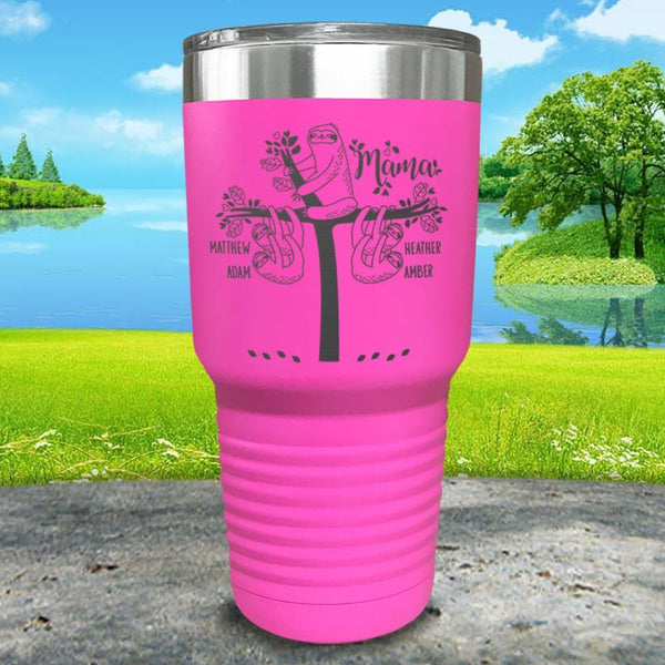 Sloth Mama (CUSTOM) With Child's Name Engraved Tumblers Tumbler ZLAZER 30oz Tumbler Pink