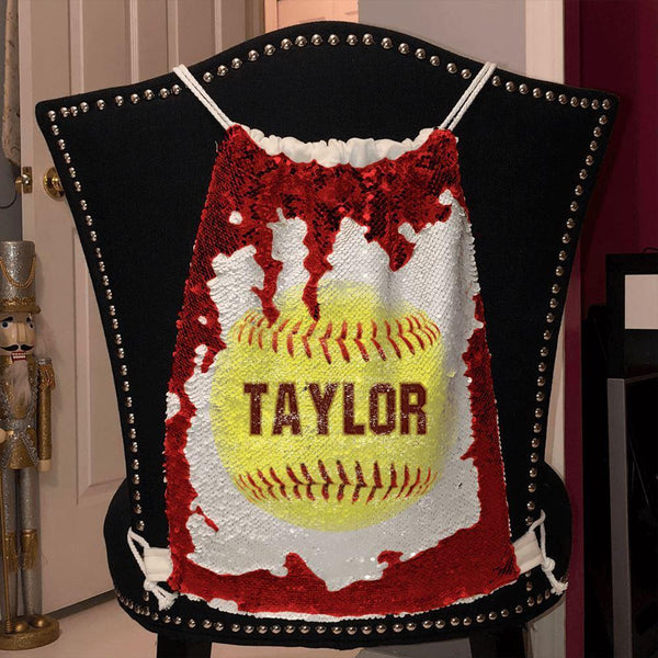 Softball Personalized Magic Sequin Backpacks Sequin Backpack BLINGZ Red