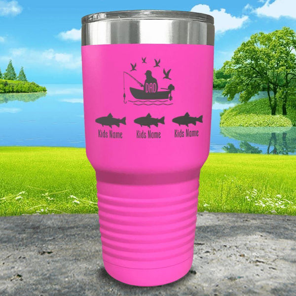 Fishing Dad (CUSTOM) With Child's Name Engraved Tumblers Tumbler ZLAZER 30oz Tumbler Pink