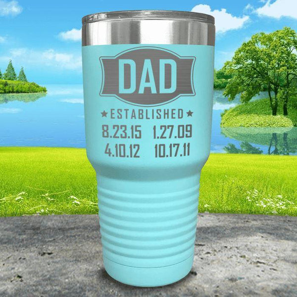 Dad Established CUSTOM Dates Engraved Tumblers Tumbler ZLAZER 30oz Tumbler Mint