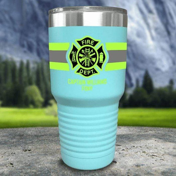 Personalized Firefighter FULL Wrap Color Printed Tumblers Tumbler Nocturnal Coatings 30oz Tumbler Mint