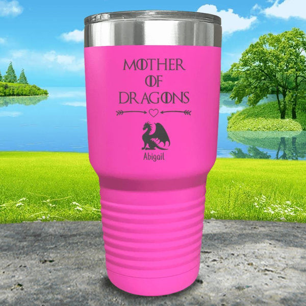 Mother Of Dragons (CUSTOM) With Child's Name Engraved Tumblers Tumbler ZLAZER 30oz Tumbler Pink