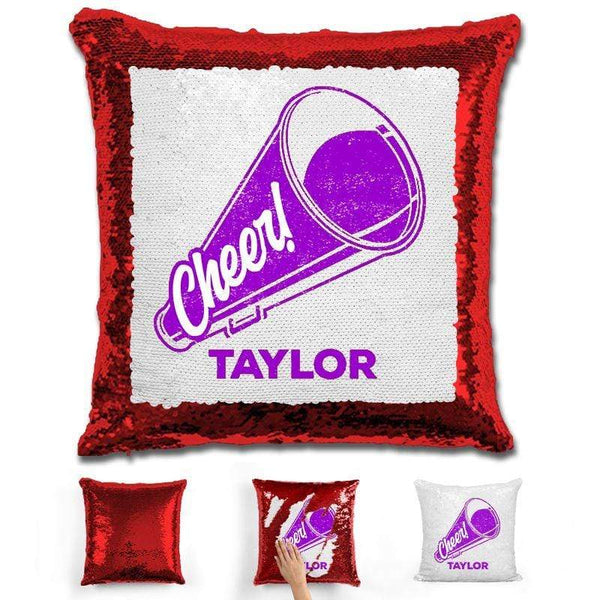 Cheerleader Personalized Magic Sequin Pillow Pillow GLAM Red Purple