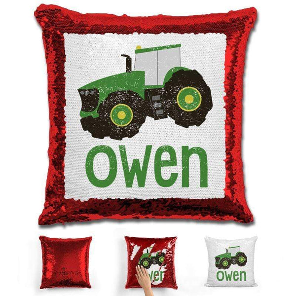 Tractor Personalized Magic Sequin Pillow Pillow GLAM Red