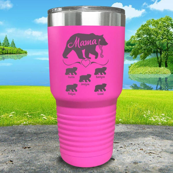 Mama Bear Nurse (CUSTOM) With Child's Name Engraved Tumblers Tumbler ZLAZER 30oz Tumbler Pink