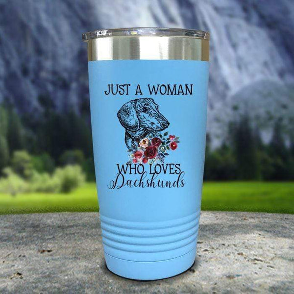 A Woman Who Loves Dachshunds Color Printed Tumblers Tumbler Nocturnal Coatings 20oz Tumbler Light Blue