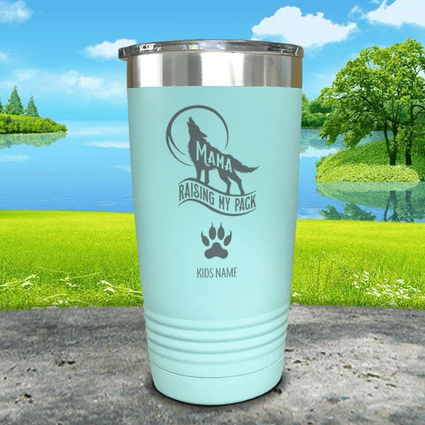 Wolf Mama (CUSTOM) With Child's Name Engraved Tumblers Tumbler ZLAZER 20oz Tumbler Mint