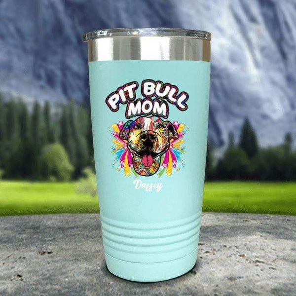 Personalized Pit Bull Mom Color Printed Tumblers Tumbler Nocturnal Coatings 20oz Tumbler Mint