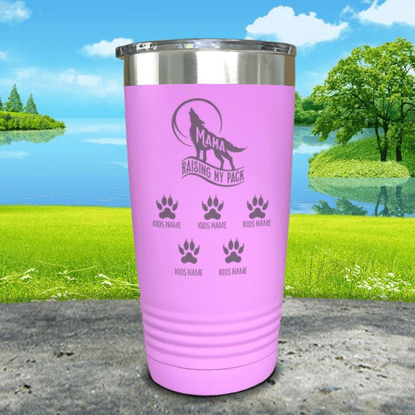Wolf Mama (CUSTOM) With Child's Name Engraved Tumblers Tumbler ZLAZER 20oz Tumbler Lavender