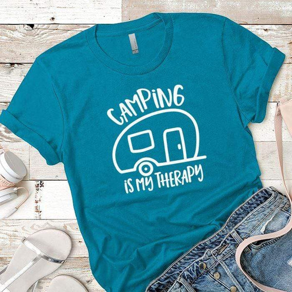 Camping Is My Therapy Premium Tees T-Shirts CustomCat Turquoise X-Small