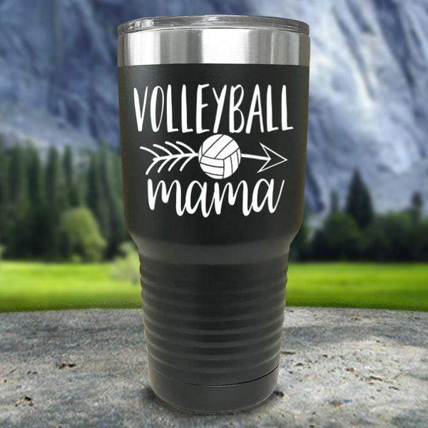 Volleyball Mama Color Printed Tumblers Tumbler Nocturnal Coatings 30oz Tumbler Black