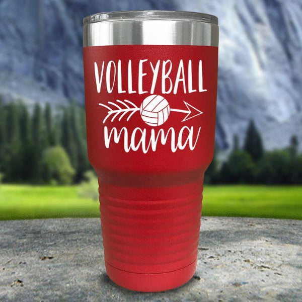 Volleyball Mama Color Printed Tumblers Tumbler Nocturnal Coatings 30oz Tumbler Red