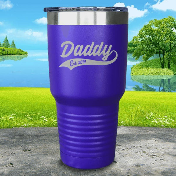 Daddy Est (CUSTOM) Engraved Tumbler Tumbler ZLAZER 30oz Tumbler Royal Purple