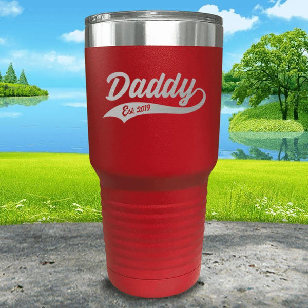 Daddy Est (CUSTOM) Engraved Tumbler Tumbler ZLAZER 30oz Tumbler Red