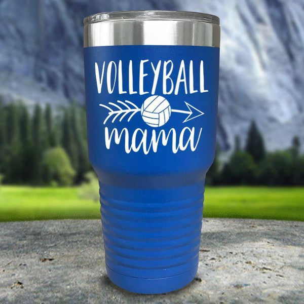 Volleyball Mama Color Printed Tumblers Tumbler Nocturnal Coatings 30oz Tumbler Blue