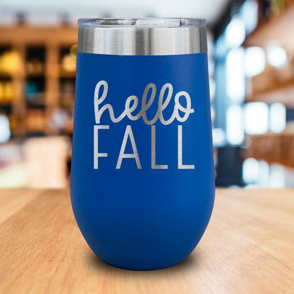 Hello Fall Engraved Wine Tumbler
